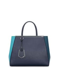 Fendi Teal Bicolor 2Jours Medium Tote Bag