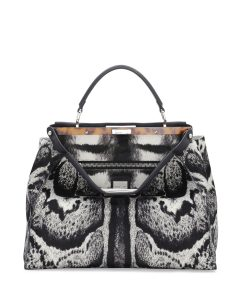 Fendi White/Black Calf Hair Peekaboo Bag