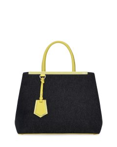 Fendi Yellow Denim 2Jours Medium Tote Bag