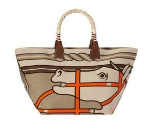 Hermes Gray-Beige Quaridge Steeple Bag