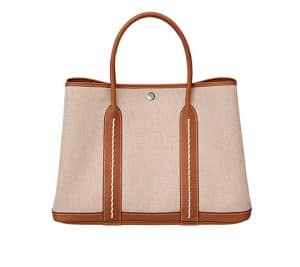 Hermes Light Brown Garden Party Tote Bag with Stiching - Spring 2014