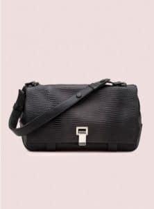 Proenza Schouler Black Courier Lizard Bag - Pre-Fall 2014