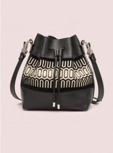 Proenza Schouler Black Printed Medium Bucket Bag - Pre-Fall 2014