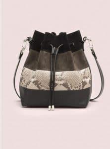 Proenza Schouler Black with Python Medium Bucket Bag - Pre-Fall 2014