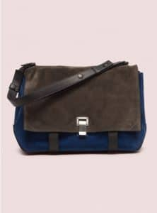 Proenza Schouler Gray/Blue Large Courier Colorblocked Bag - Pre-Fall 2014
