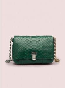 Proenza Schouler Green Velvet Small Courier Python Bag - Pre-Fall 2014