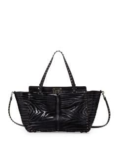 Valentino Black Calf Hair Rockstud Tote Bag - Pre-Fall 2014
