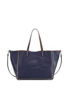 Valentino Blue/Brown Rockstud Double-Side Tote Bag - Pre-Fall 2014