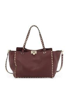 Valentino Bordeaux Rockstud Medium Tote Bag - Pre-Fall 2014