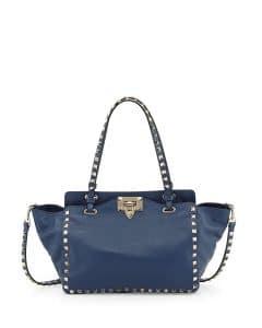 Valentino Navy Blue Rockstud Mini Tote Bag - Pre-Fall 2014