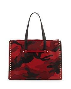 Valentino Red Rockstud Camo Medium Tote Bag - Pre-Fall 2014