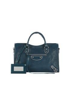 Balenciaga Blue Classic City Metallic Edge Bag