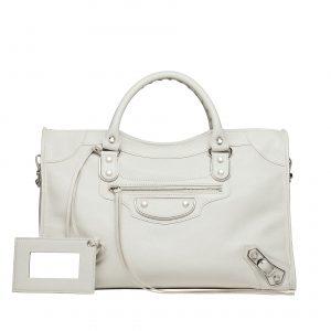 Balenciaga Grey Silver Metallic Edge City Bag - Prefall 2014