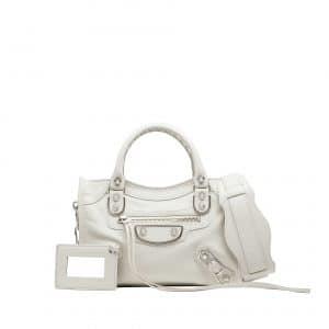 Balenciaga Grey Silver Metallic Edge Mini City Bag - Prefall 2014