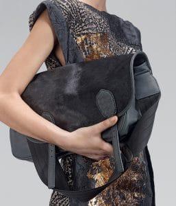 Bottega Veneta New Dark Grey Pony Waxed Leather Gardena Bag - Pre-Fall 2014