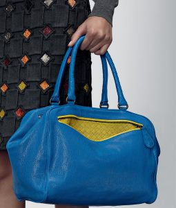 Bottega Veneta Signal Blue New Chartreuse Madras Heritage Brera Bag - Pre-Fall 2014