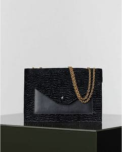 Celine Black Pony Stamped Calfskin Pocket Chain Bag - Winter 2014