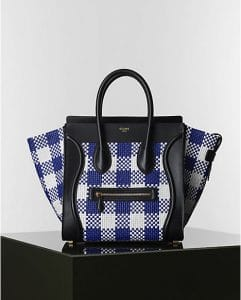 Celine Blue and White Gingham Mini luggage Tote Bag - Winter 2014