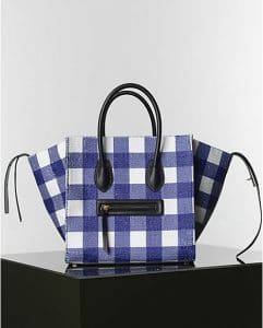 Celine Blue and White Gingham Phantom Tote Bag - Winter 2014
