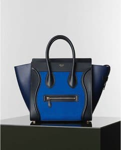 Celine Bright Blue Nubuck Suede Mini Luggage Tote Bag - Winter 2014