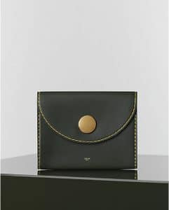 Celine Green Khaki Orb Clutch Vegetal Calfskin - Winter 2014