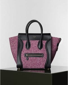 Celine Purple Tweed Mini Luggage Bag - Winter 2014