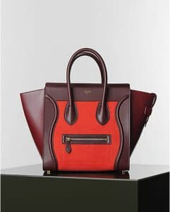 Celine Vermilion Red Nubuck Suede Mini Luggage bag - Winter 2014