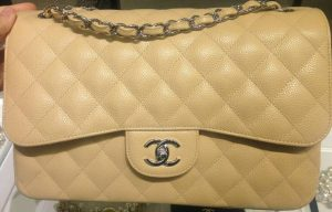 Chanel Beige Classic Flap Jumbo Bag