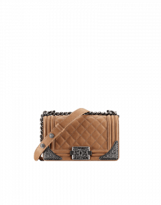 Chanel Beige Small Boy with Embellished Sides Bag - Prefall 2014