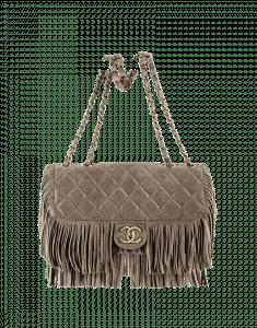 Chanel Beige Suede Fringe Flap Bag - Prefall 2014