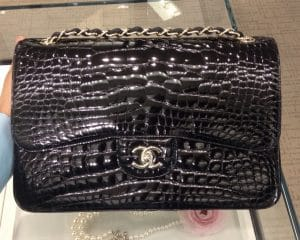 Chanel Black Croc Classic Flap Jumbo Bag