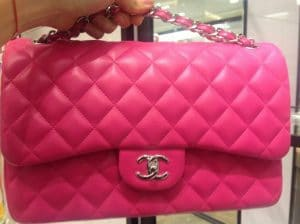 Chanel Fuchsia Classic Flap Jumbo Bag