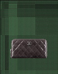 Chanel Gray Patent CC Zipped Wallet - Pre-Fall 2014