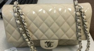 Chanel Ivory Patent Classic Flap Medium Bag