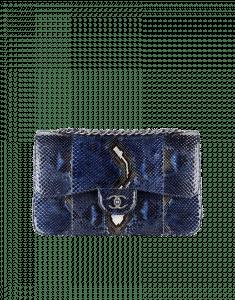 Chanel Large Blue Python Timeless Classic Flap Bag - Prefall 2014