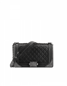 Chanel Medium Black Boy Flap Bag with Embellished Sides - Prefall 2014