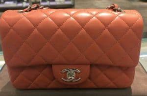 Chanel Orange Classic Flap Mini Bag