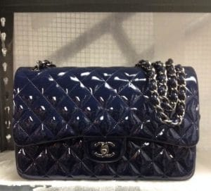 Chanel Patent Navy Blue Jumbo Flap Bag - Prefall 2014