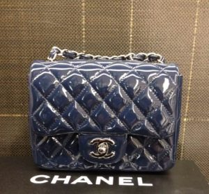 Chanel Patent Navy Blue Square Mini Flap Bag - Prefall 2014