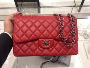 Chanel Red Jumbo Timeless Classic Flap Bag - Prefall 2014