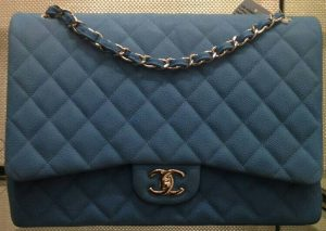 Chanel Sky Blue Caviar Maxi Flap Bag - Prefall 2014
