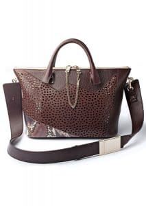 Chloe Brown Perforated with Python Baylee Bag - Fall/Winter 2014
