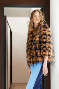 Chloe Tan/Blue Fur Coat - Resort 2015