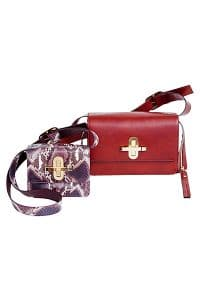 Chloe Violet Python/Red Leather Satchel Bags - Fall/Winter 2014