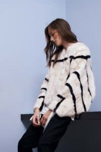 Chloe White/Black Fur Coat - Resort 2015