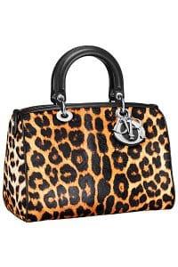 Dior Cheetah Print Pony-Effect Granville Polochon Bag