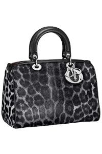 Dior Gray Leopard Print Pony-Effect Granville Polochon Bag