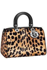 Dior Leopard Print Pony-Effect Granville Polochon Bag