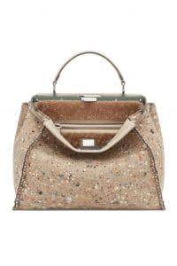 Fendi Beige Multicolor Felt/Shearling Peekaboo Large Bag