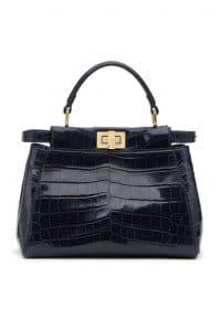 Fendi Black Crocodile Peekaboo Mini Bag